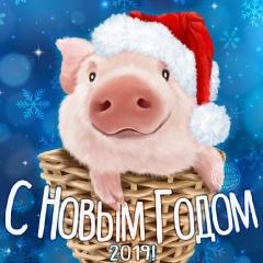 Поздравительная открытка на 2019 год - год свиньи (кабана)